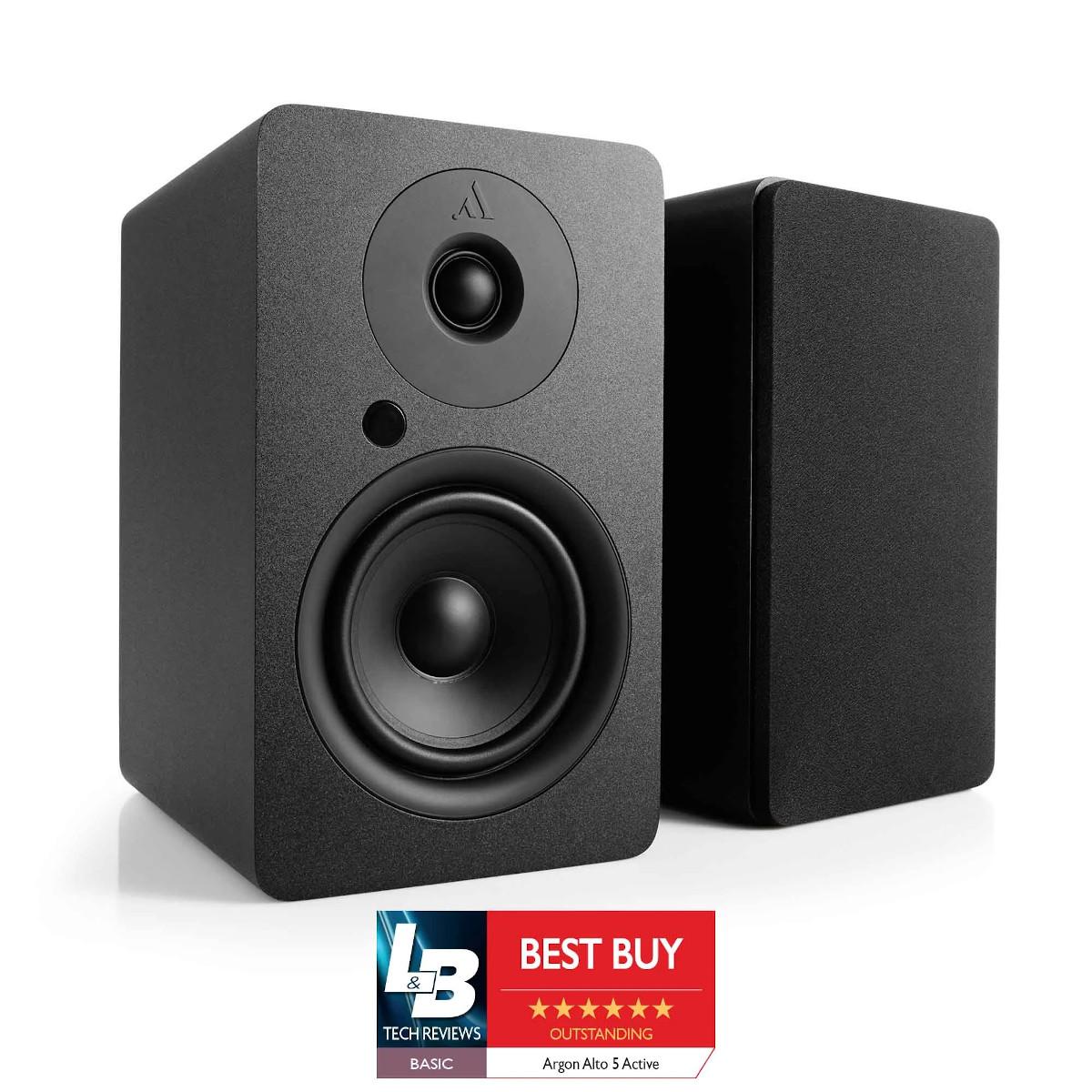 Argon Audio Alto A 5 Aktiv Regal-Lautsprecher mit Bluetooth Paar schwarz