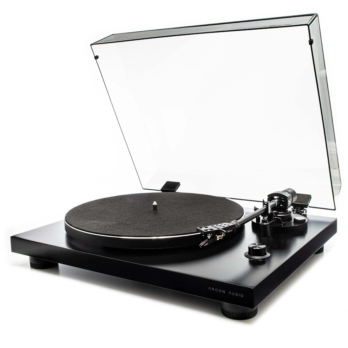 Argon Audio TT 3 Plattenspieler mit Ortofon OM5E Tonabnehmer schwarz