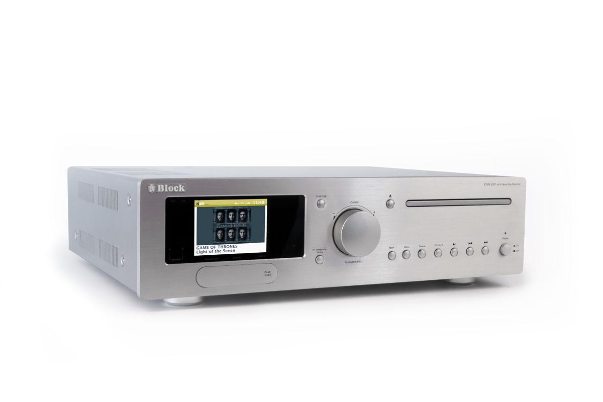 Block CVR-200 Blu-Ray-Internet-Receiver mit Bluetooth und W-LAN silber