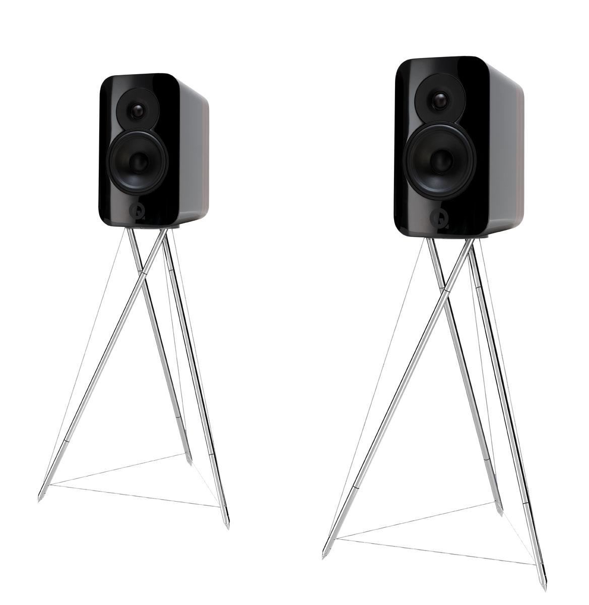 Q-Acoustics Concept 300 Kompakt-Lautsprecher incl. Ständer (silber) hochglanz schwarz bicolor