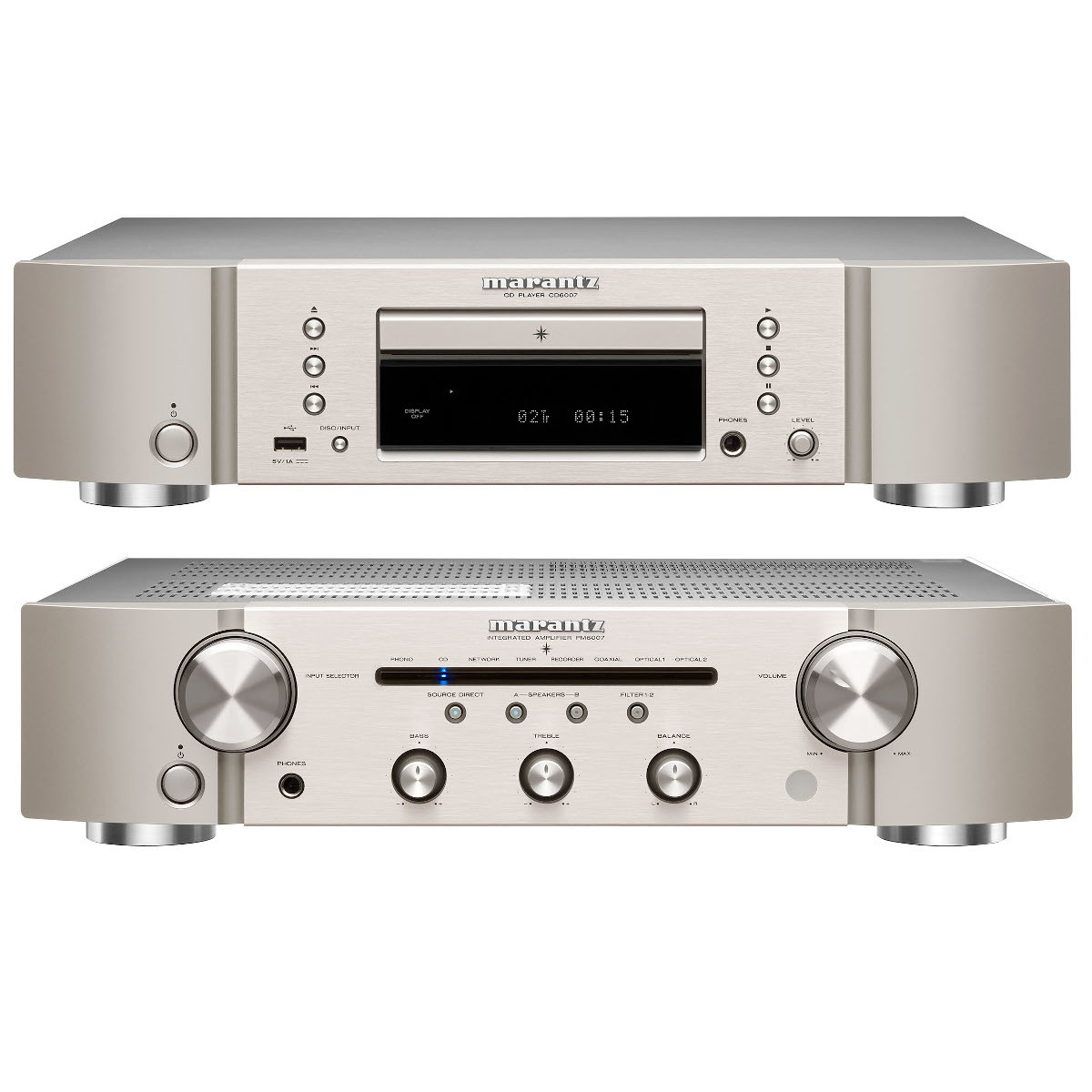 Marantz Set PM 6007 Amplifier with Phono and DA Converter and CD 6007 CD Player silver/gold
