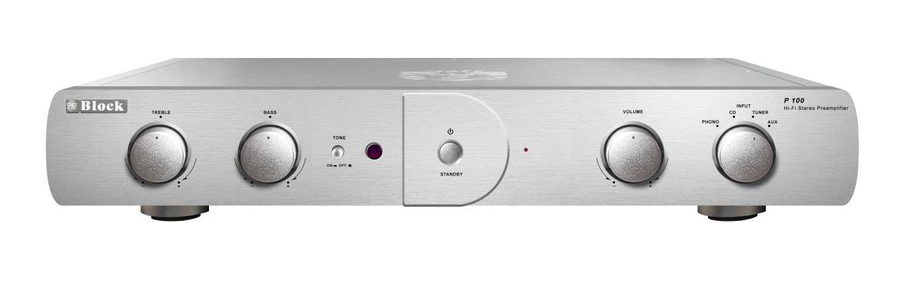 Block P-100 Preamplifier with Phono MM/MC Silver