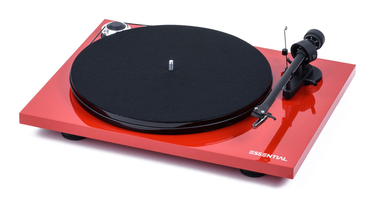 Pro-Ject Essential III Digital mit Ortofon OM10 Tonabnehmer und MM Vorverstärker hochglanz rot