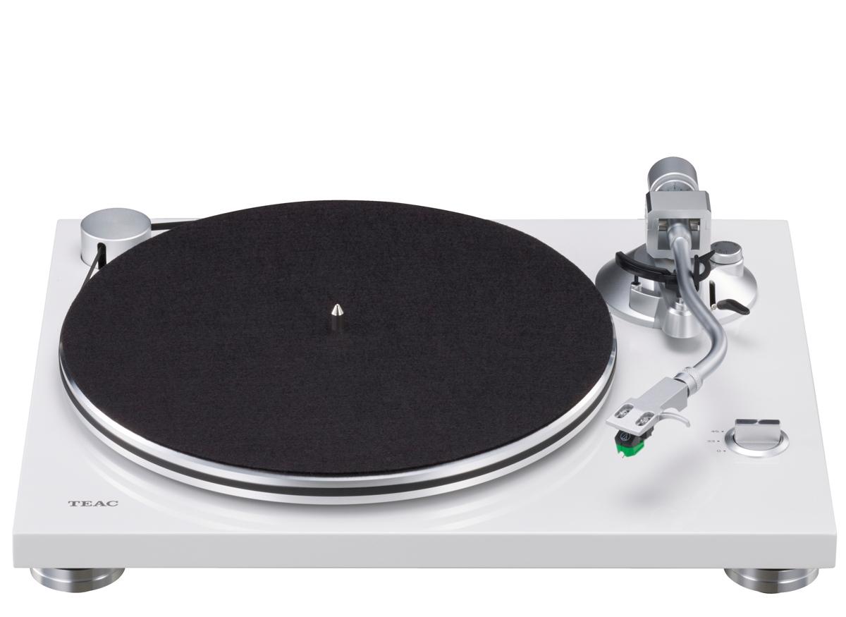 Teac TN-3B Turntable with Audio Technica AT VM95E, Phono MM and USB Output white
