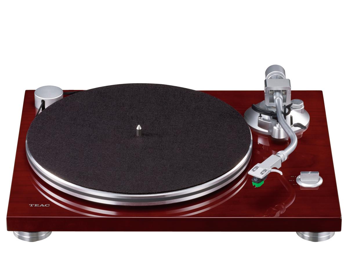 Teac TN-3B Plattenspieler mit Audio Technica AT VM95E, Phono MM und USB Ausgang Kirsche