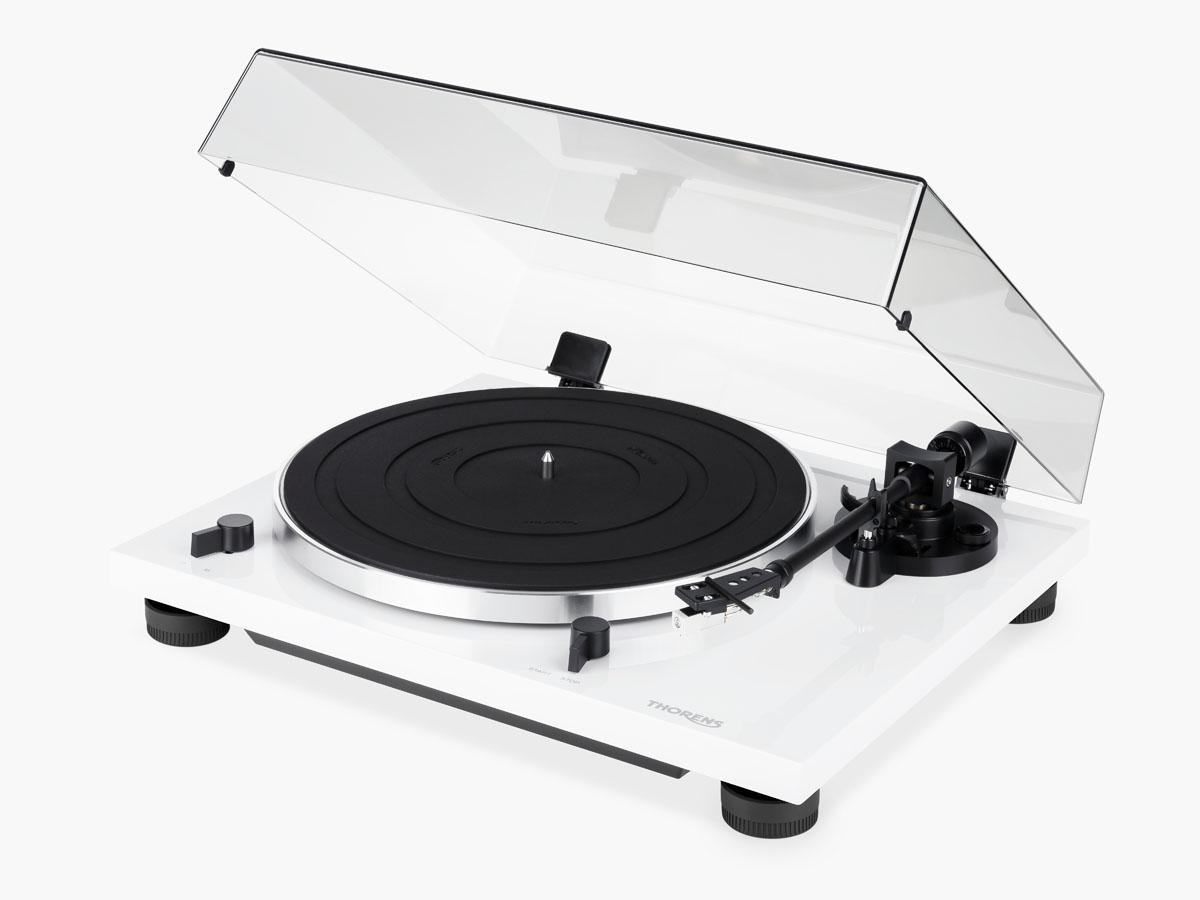 Thorens TD 201 Plattenspieler mit MM Phono Vorstufe hochglanz weiss
