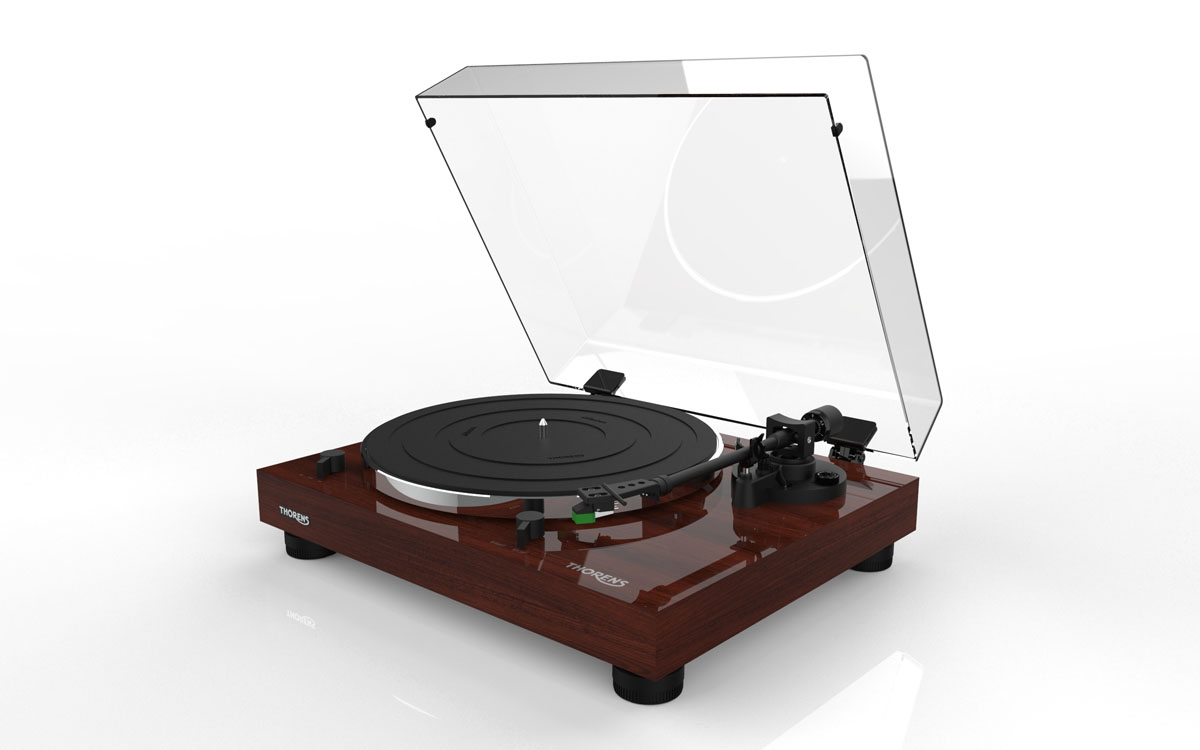 Thorens TD 202 Turntable with MM Phono preamplifier and USB high gloss Walnut
