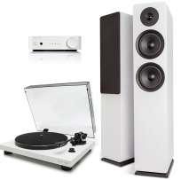 Argon Audio Stereo Anlage: Alto 55 Mk II Stand-Lautsprecher, TT-3 Plattenspieler und SA1 Volverstärker, weiss