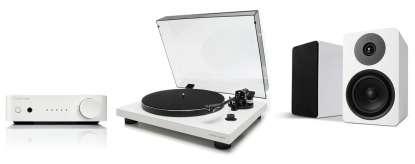 Argon Audio Compact System: Alto 5 Mk II Bookshelt-Speakers, TT-3 Turntable and SA1 Amplifier, white