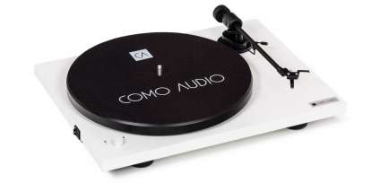 Como Audio Turntable BT mit Ortofon OMB10 Tonabnehmer hochglanz weiss