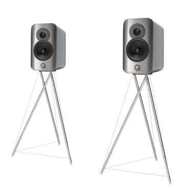 Q-Acoustics Concept 300 Kompakt-Lautsprecher incl. Ständer (silber) hochglanz silber bicolor