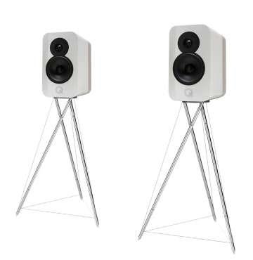 Q-Acoustics Concept 300 Kompakt-Lautsprecher incl. Ständer (silber) hochglanz weiss bicolor