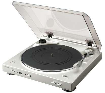 Denon DP-200USB Plattenspieler mit Phono Vorstufe und MM Tonabnehmer silber