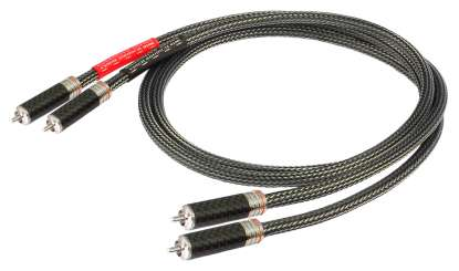 Goldkabel Executive Cinch Stereo Kabel mit verspannbare, rhodinierte Cinchstecker in Carbon 0.5 mtr.