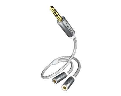 Inakustik Premium II Klinken-Audioadapter, Y 3,5 mm Stecker auf 2 x 3,5 Buchse, 0,2 mtr.