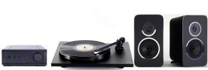 Rega Stereo Set: IO amplifier, Planar1 turntable and Kyte bookshelf speakers, black