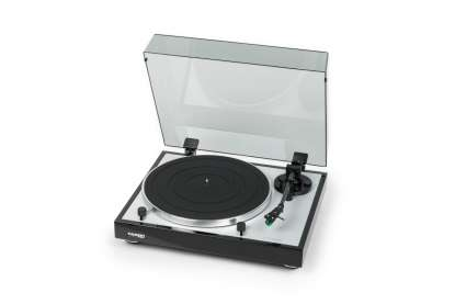 Thorens TD 402 DD Turntable with MM Cartridge and Phono preamplifier high gloss black